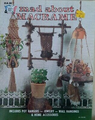 1975 MACRAME Pattern Booklet MAD ABOUT MACRAME Wall Decor JEWELRY Owls