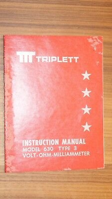 Triplett Instrucction Manual  Model 630 Type 3 (volt-ohm milliameter)