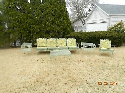 Vintage 1950'S Meadowcraft 5 Piece Wrought Iron Porch Furniture! W/ Org Cushions
