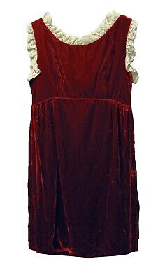 Vintage Red Velvet and Lace Dress Babydoll Pinafore SM