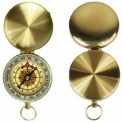 Brass Style Survival Hiking Outdoor Compass with Lid Nautical Pocket Necklace US
