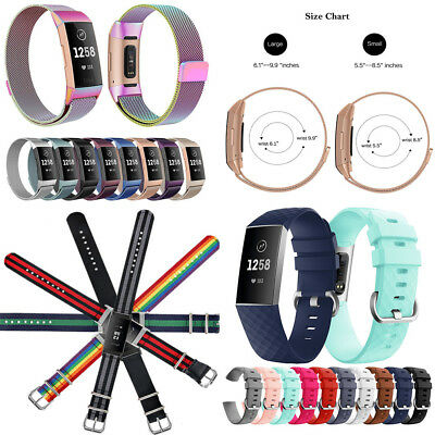 Silicone/Nylon/Milanese Magnetic Loop Wristband Watch Strap for Fitbit Charge 3