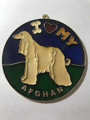 Vintage 1980s I heart my AFGHAN Suncatcher HOW COOL Gotta Love It WOOF SC-20
