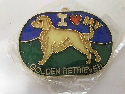 Vintage 1980s I heart My GOLDEN RETRIEVER Suncatcher COOL Gotta Love It SC-16