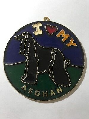 Vintage 1980s I heart my AFGHAN Suncatcher HOW COOL Gotta Love It WOOF SC-21