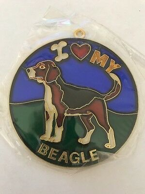 Vintage 1980s I heart my BEAGLE Suncatcher HOW COOL Gotta Love It LOT SC-08