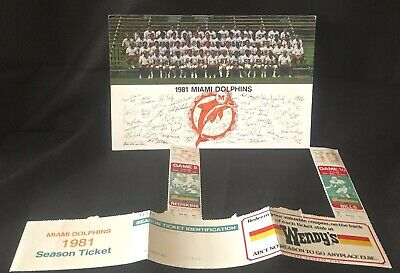 MIAMI DOLPHINS 1981 TEAM PHOTO w/ sigs & D0LPHIN GAME TIX (2) & SCHED- Lot of 3