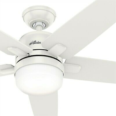 Hunter Fan 52 in Casual Fresh White Ceiling Fan with Light Kit & Remote Control