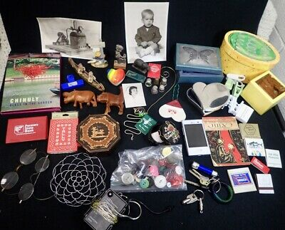 box lot junk drawer vintage collectibles Photos Trinket Boxes Thimbles Carvings