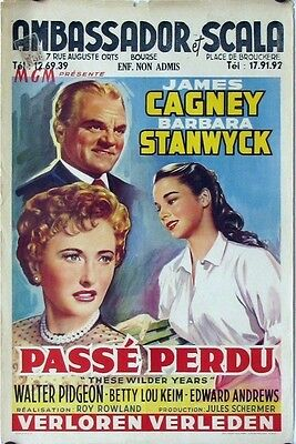R126 These Wilder Ans Belge Affiche 56 Art de James Cagney & Barbara Stanwyck