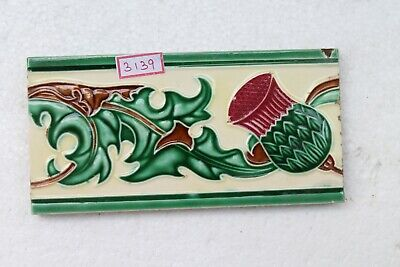 Antique Old Flower Engrave Nouveau Art Majolica Ceramic Tile Border Japan NH3139
