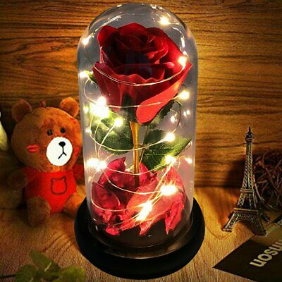 Artificial Eternal Rose Flowers Glass Cover Mothers Day Valentine Ornament Gift