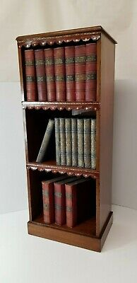 Antique Mahogany Open Bookshelves With Leather trim