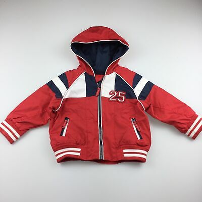 Boys size 0, Mothercare, red lightweight jacket / raincoat, GUC