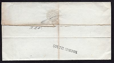 1826 North Devon entire with fine South Molton straight line pmk in black