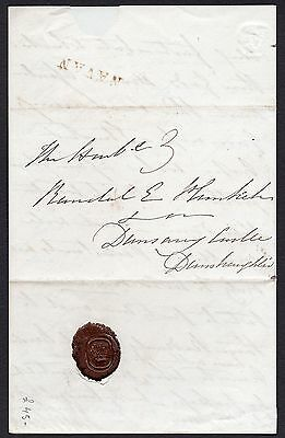 1834 Irish letter to MP Randall Plunkett with a Navan straight line pmk