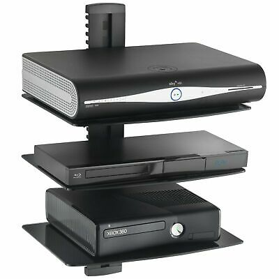 UK Glass Floating Wall Mount Shelf DVD Player Sky Box Game Console 3 Tier Black