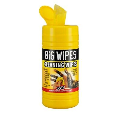 Big Wipes Cleaning Wipes 80s + 25% Antibacterial Fabric Oil Adhesive Paint Tools