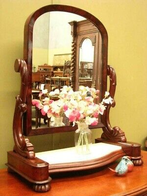 ANTIQUE MAHOGANY + MARBLE TILTING TOILET MIRROR / DRESSING TABLE MIRROR ~ c1880s