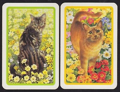 2 Single GENUINE Swap/Playing Cards TABBY CATS + GARDEN FLOWERS Lesley Ivory Art