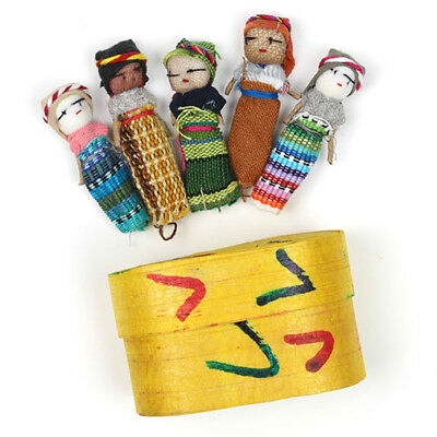 5 Large Worry Dolls / People in a Box Handmade in Guatemala Fair Trade + Info