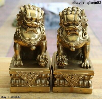 Chinese classical Brass Copper Evil Guardian Door Bei Jing Fu Foo Dog Lion Pair