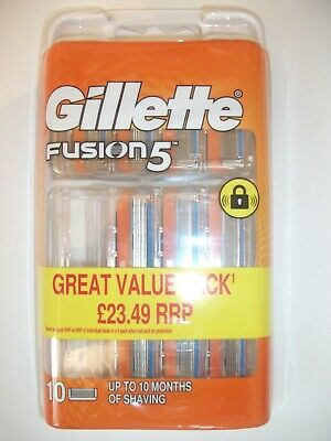 Gillette Fusion5 10 Blades Pack New & Sealed 100% Genuine Freepost