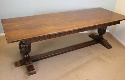 Large Antique Oak Refectory Table Farmhouse Kitchen Dining Table