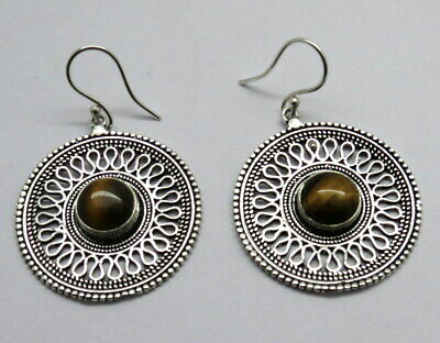 Silver Earrings Natural Gem Stone Tiger Eye Ethnic Antique Earring 1 Pair