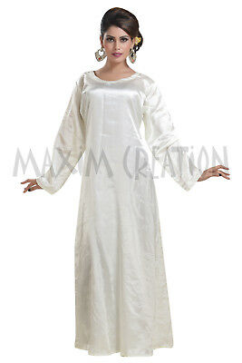 Cream Colour Satin Night Gown Evening Wear For Women's By Maxim Creation 6455