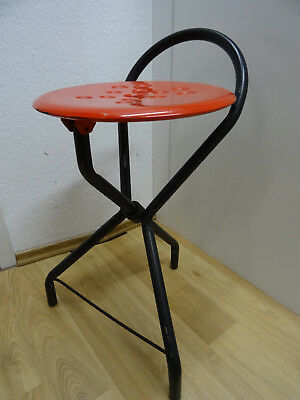 Werkstatthocker TUBECON design Marinakis Greece Vintage 70er Orange Klapp Hocker
