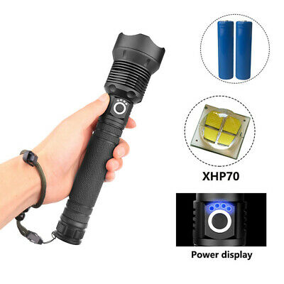 USB Rechargeable XHP70 LED Flashlight Torch 3 Modes Zoomable Light Lamp+2X 18650