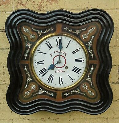 Antique French Vineyard Wall Clock Mother of Pearl