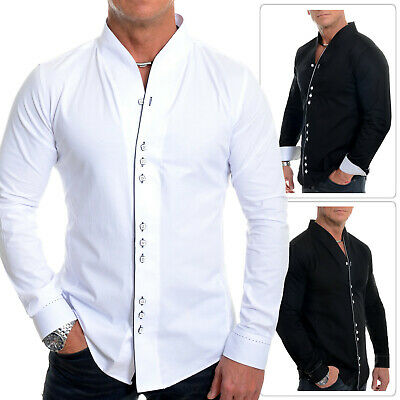 Mens Long Dress Shirt Contrast Piping Collarless Casual Formal Slim Fit