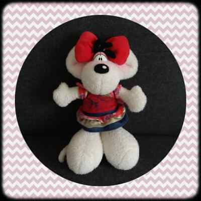 Peluche Doudou Diddl Diddlina Robe rouge et or Chat Milimits RARE TBE 35cm