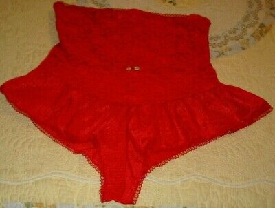 Vintage Lingerie Teddy  Red Nylon & Lace Undercover Wear Size M