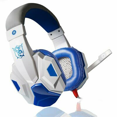 Gaming Headset Headphones PC780 for PC Mac Laptop PS4 Slim Xbox One White & Blue