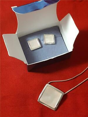 Avon Vintage Earings and Necklace White Metal Silver Plated Mother of Pearl