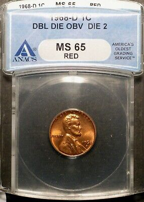 1968-D Lincoln Cent - Double Die , CONECA DDO-002  ANACS MS65  red
