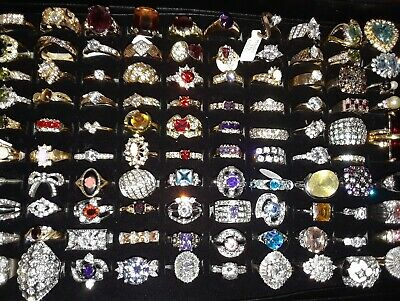 Huge Antique Vintage Now Estate Mixed Rhinestone Rings Necklaces Jewelry 5 pcs.