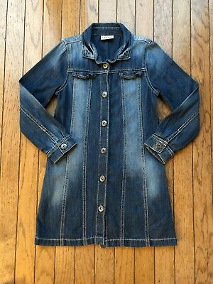 US Next Direct Girls Denim Long Sleeve Shirt Dress Duster Jacket Size 9 Yrs