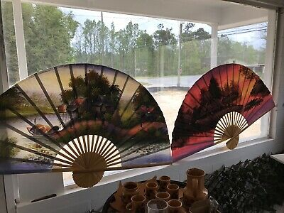 "TWO VTG Extra Large Oriental Asian Folding Fans Hand Painted 60""+ Wall Decor"