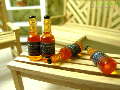 4 Wine Whiskey Bottles Dollhouse Miniature Kitchen Pub Bar Shop Food Drink 1/12
