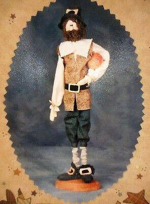 """🍂 Fall Country Primitive Colonial Pilgrim Man Cloth Doll Sewing Pattern 18"""""""