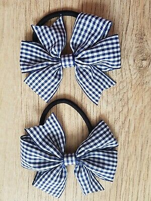 Handmade Girls Navy Blue Gingham School  Bow Hair Bobbles Sold In Pairs