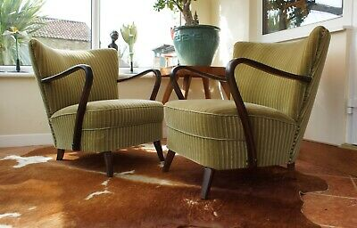 Pair Vintage German Fireside Cocktail Chairs With Arms Armchairs  Apr19-26