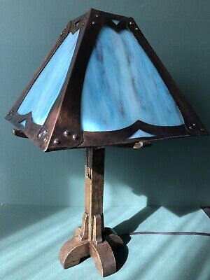 Arts & Crafts Mission Lamp Stained Slag Glass Shade Oak Base Handmade Bungalow