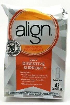 Align Probiotic Supplement 42 Capsules 24/7 Digestive Support 9/2019+