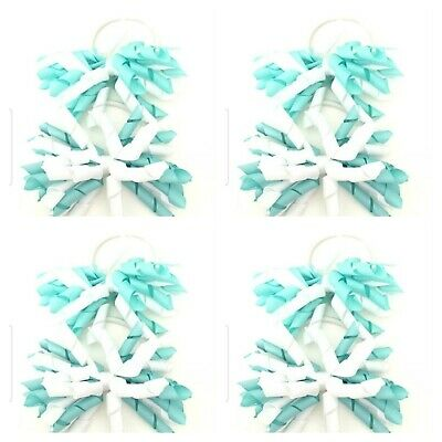 Handmade Girls Hair Bow Bobbles   Korkers Mint/ White Sold In Pairs ( SALE )