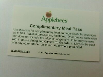 Applebee's Complimentary Meal Pass Card Certificate
